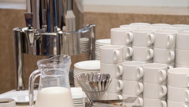 Hot Coffee & Tea w Ceramic Cup, Saucer & Teaspoon Set